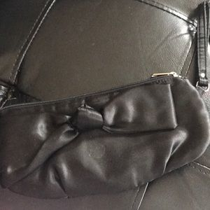 Handbags - NWOT. 100% polyester LONG BLACK WRISTLET WITH BOW
